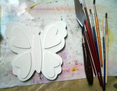 Wooden butterfly + normal gesso